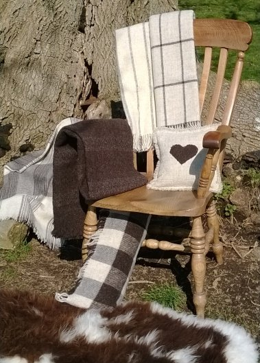 Merlin's Hill Wool products on a chair